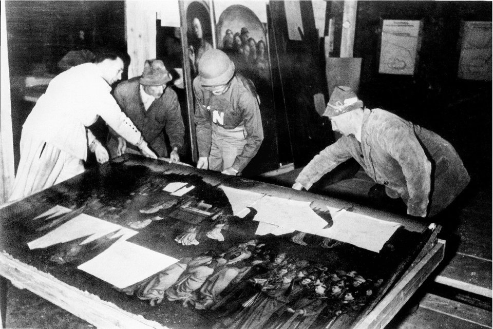 Photo - This photo provided by The Monuments Men Foundation for the Preservation of Art of Dallas, shows Monuments Man George Stout, third from left with an