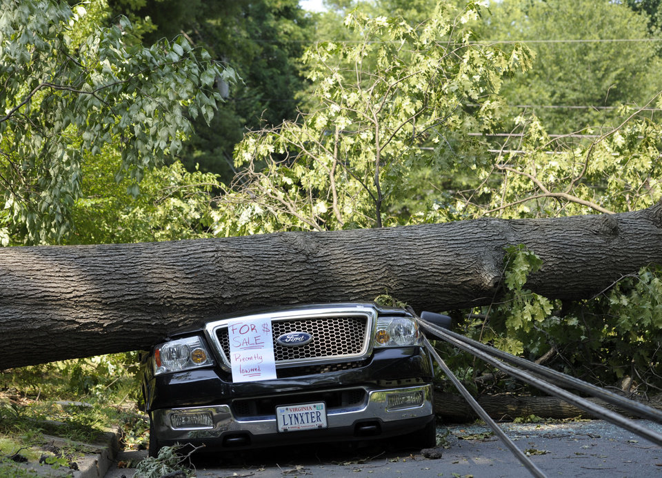 Photo -   Mike Wolfe's pickup truck lies under a fallen tree in front of his house after a severe storm in Falls Church, Va., Saturday, June 30, 2012. Wolfe's daughter created the