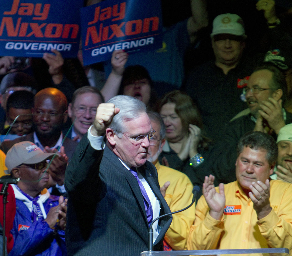 Missouri Gov. Jay Nixon takes the stage for his acceptance speech for his second term during his watch party at The Pageant on Tuesday, Nov. 6, 2012, in St. Louis. (AP Photo/The Kansas City Star, Shane Keyser)