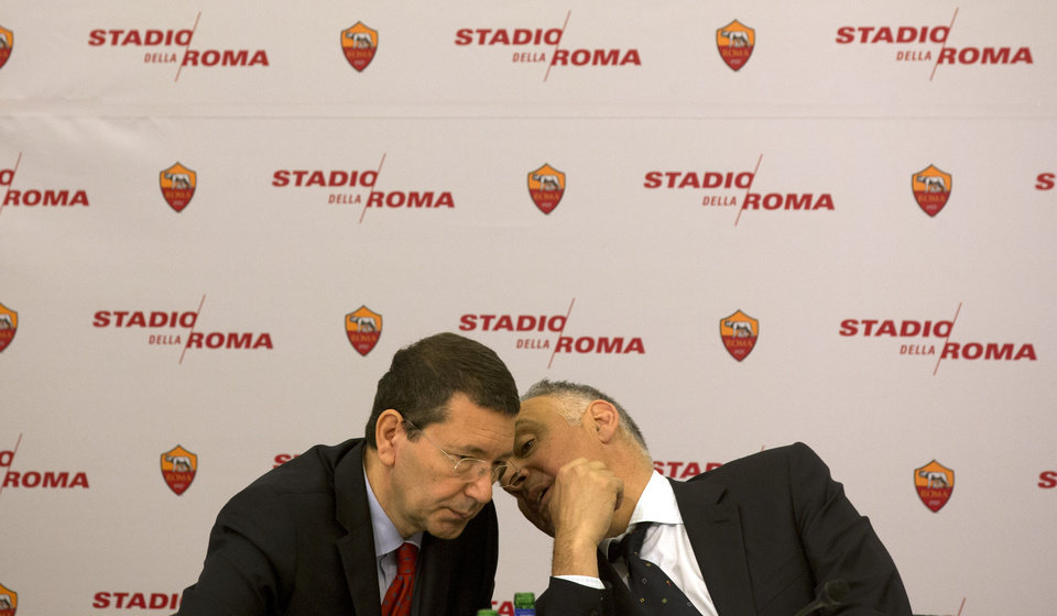 Photo - Roma President James Pallotta, right, talks to Rome's Mayor Ignazio Marino, at Rome's Capitol Hill, Wednesday March 26, 2014. Three-time Serie A champion Roma has revealed plans to build a new privately financed stadium on the outskirts of the Italian capital. Labeled