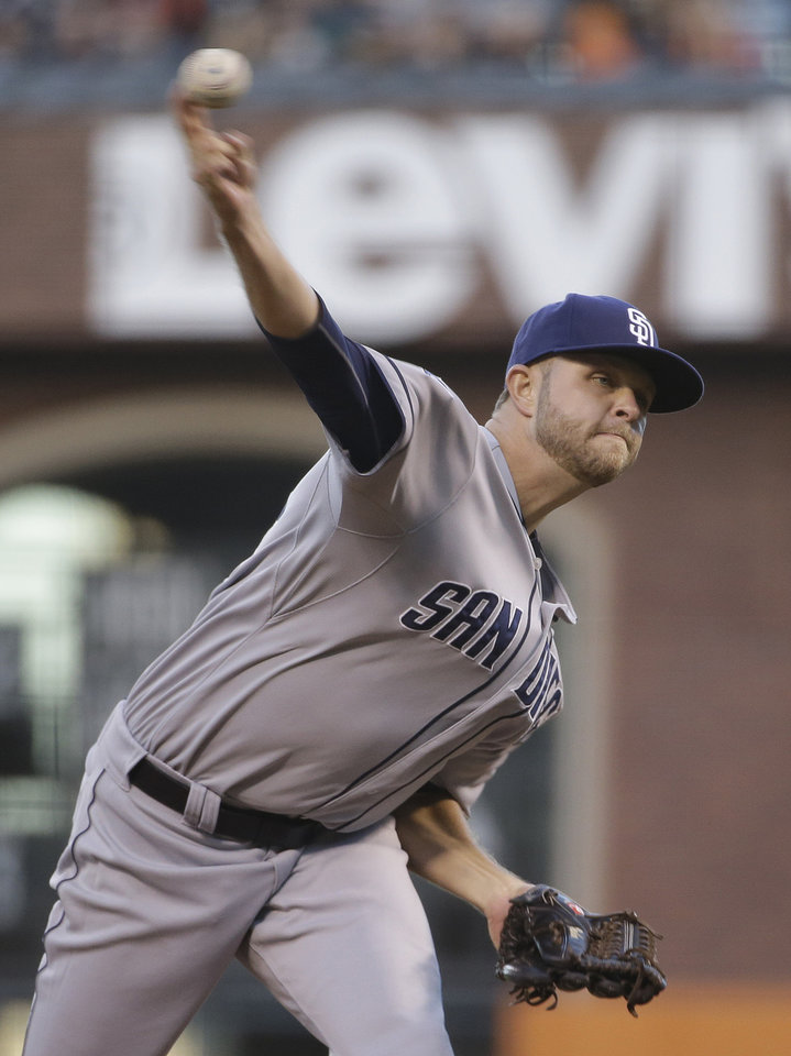 Photo - San Diego Padres starting pitcher Jesse Hahn throws in the fourth inning of their baseball game against the San Francisco Giants, Tuesday, June 24, 2014, in San Francisco. (AP Photo/Eric Risberg)