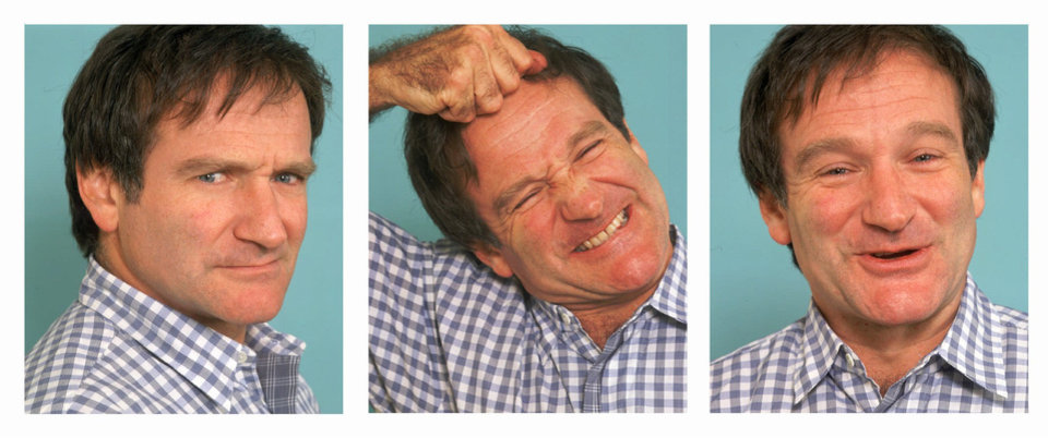 "Photo - ADV FOR WEEKEND EDITIONS,  MARCH 8-10-- Actor-comedian Robin Williams demonstrates his tendency to change expressions instantly during an interview in New York, Feb. 9, 1996. Williams latest film role is as the gay owner of a drag nightclub in ""The Birdcage."" (AP Photo/Wyatt Counts)"
