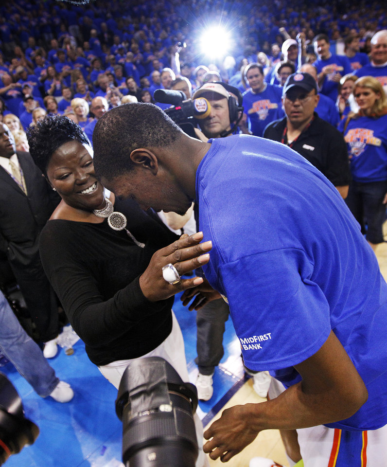 Oklahoma City's Kevin Durant (35) talks to his mother, Wanda Pratt, after game 7 of the NBA basketball Western Conference semifinals between the Memphis Grizzlies and the Oklahoma City Thunder at the OKC Arena in Oklahoma City, Sunday, May 15, 2011. The Thunder won, 105-90. Photo by Nate Billings, The Oklahoman