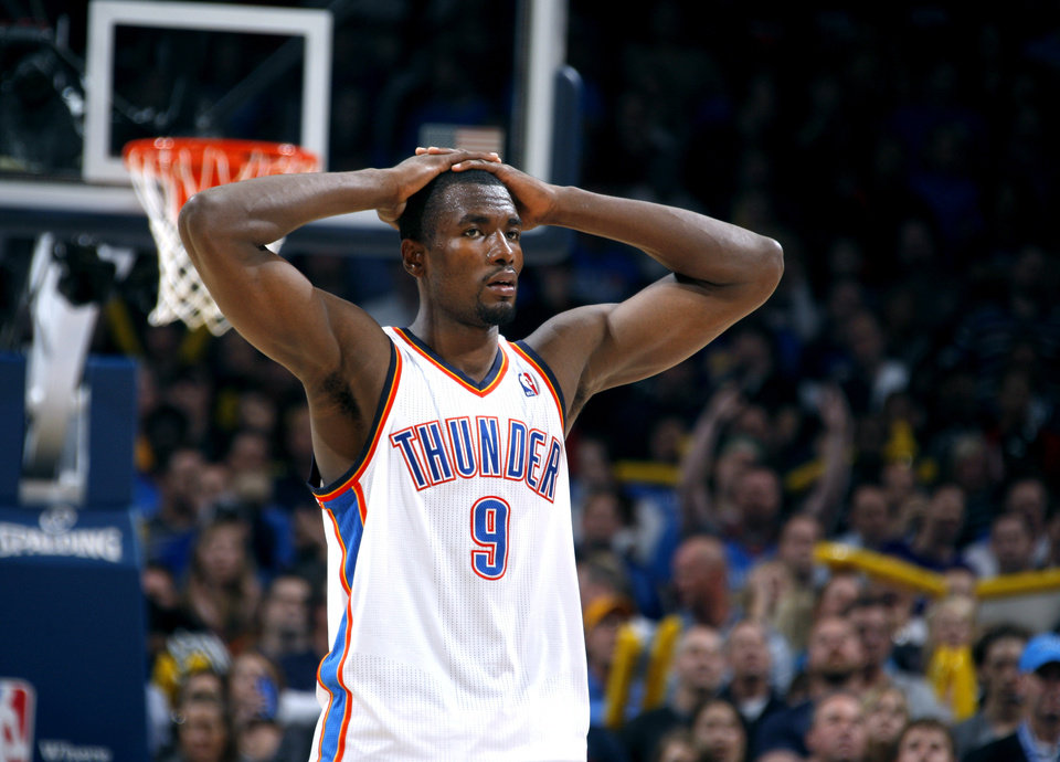 Photo - Oklahoma City's Serge Ibaka (9) reacts to a call in the final seconds of the fourth quarter during the NBA basketball game between the Oklahoma City Thunder and the Los Angeles Lakers, Sunday, Feb. 27, 2011, at the Oklahoma City Arena.Photo by Sarah Phipps, The Oklahoman