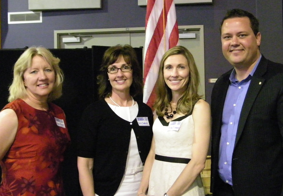 From left, The Therapy Factory office manager  Dyann Arnette, co-owners Sarah Chadwick and Chrisha McGann, and Rotarian Chris Burton. The Therapy Factory was awarded by Rotary as representing the club\'s highest ideals.