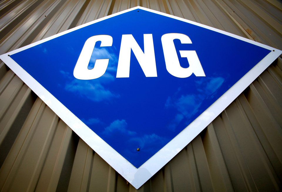 Sign in front of CNG Interstate, an Edmond business that specializes in compressed natural gas conversions.  Photo by Jim Beckel, The Oklahoman. ORG XMIT: KOD