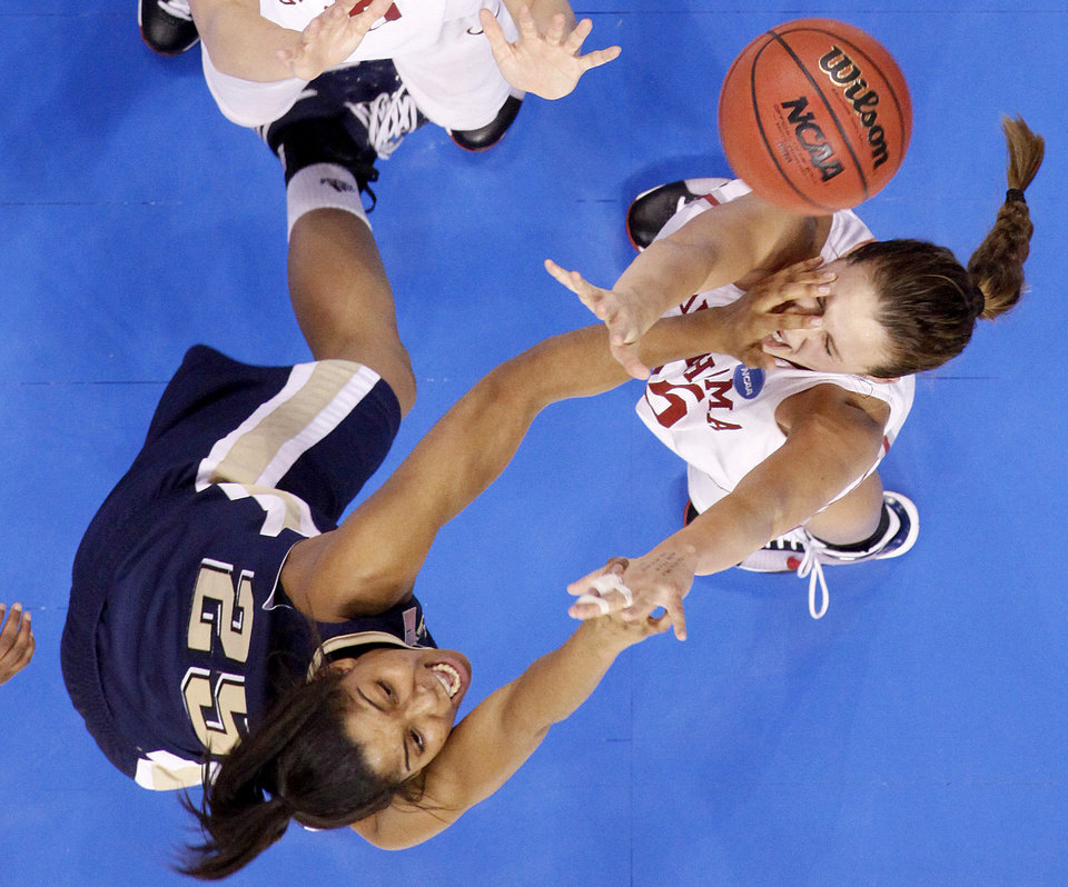 OU's Whitney Hand defends Pittsburgh's Shayla Scott during the NCAA women's basketball tournament game between Oklahoma and Pittsburgh at the Ford Center in Oklahoma City, Sunday, March 29, 2009.  PHOTO BY BRYAN TERRY, THE OKLAHOMAN