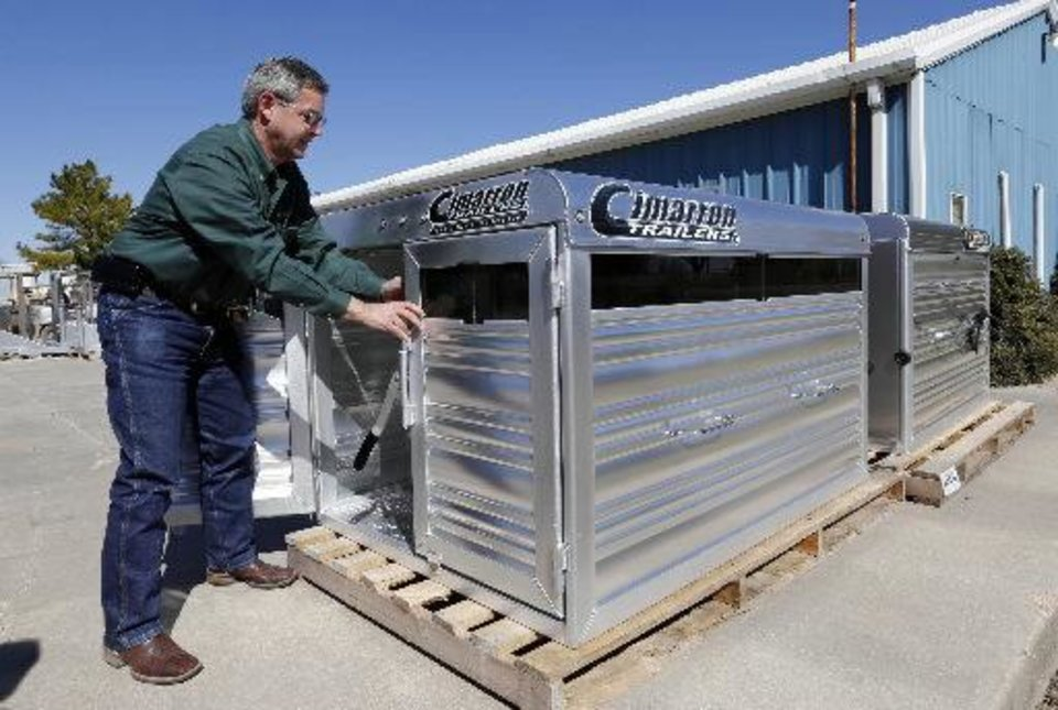 Photo - Michael Terry is shown at work at his Chickasha business, Cimarron Trailers.