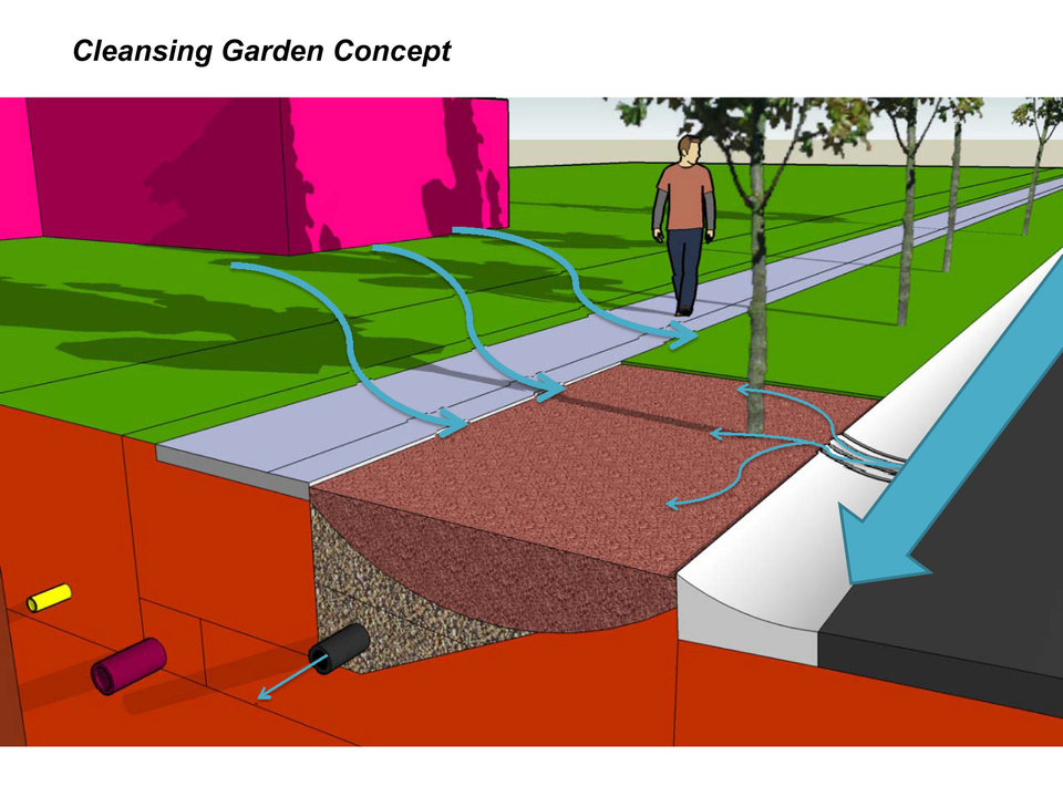 This drawing illustrates the rain garden concept: Stormwater from a lawn is directed to the specially landscaped area where materials in the soil help collect pollutants to keep them out of groundwater.