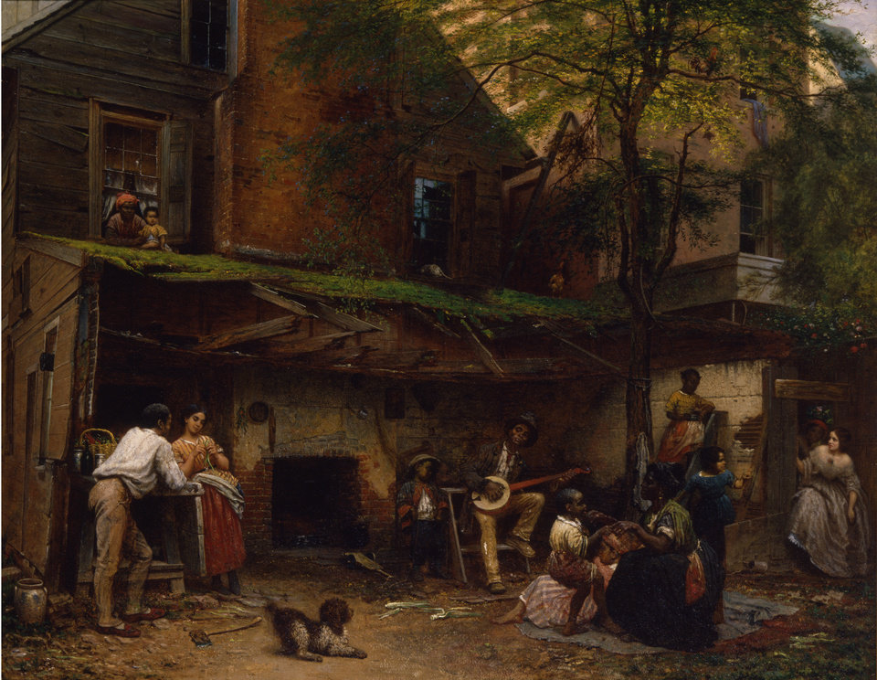 "This undated handout image provided by the Smithsonian American Art Museum Eastman Johnson's 1859 oil on linen, ""Negro Life at the South,"" part of a major exhibition on how artists represented the war and how the war changed art. It's on view in Washington through April and then moves to New York's Metropolitan Museum of Art. (AP Photo/Smithsonian American Art Museum)"