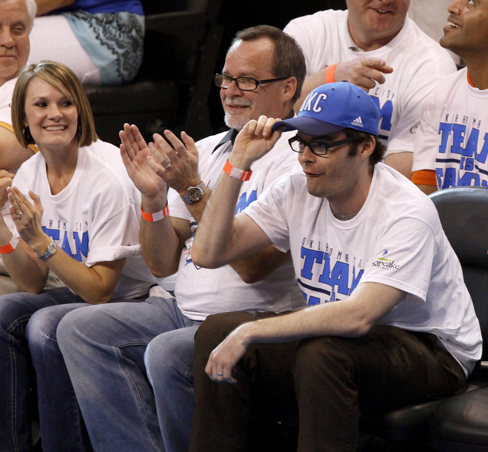 Photo - Bill Hader grabs his cap during Game 2 of the NBA Finals between the Oklahoma City Thunder and the Miami Heat at Chesapeake Energy Arena in Oklahoma City, Thursday, June 14, 2012. Photo by Nate Billings, The Oklahoman