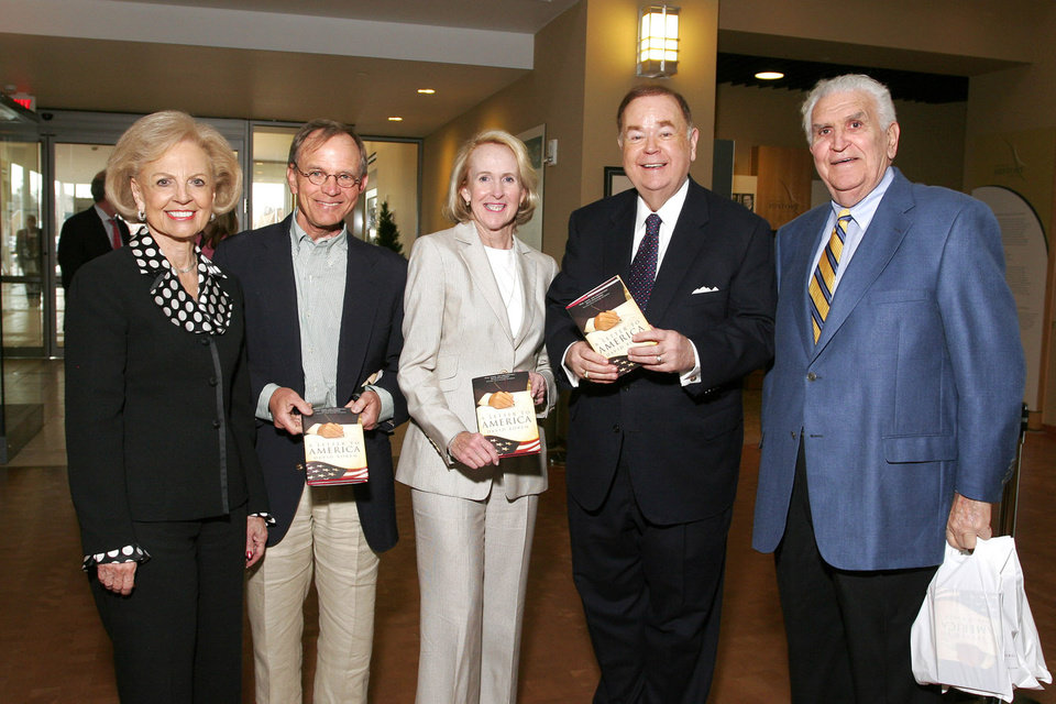 "Photo - JIM EVEREST: Betty Price, Jim and Christy Everest, University of Oklahoma President David Boren and Lee Allan Smith attend the book signing at the Oklahoma History Center. Boren's new book, ""A Letter to America,"" was recently published. BY DAVID FAYTINGER, FOR THE OKLAHOMAN ORG XMIT: 0803061753110491"