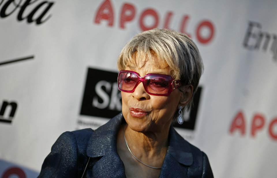Photo - FILE - In this Monday, June 2, 2008, file photo, Actress Ruby Dee arrives for the Apollo Theater's annual Hall of Fame induction ceremony in New York. Dee, an acclaimed actor and civil rights activist whose versatile career spanned stage, radio television and film, died at age 91, on Thursday, June 11, 2014.  (AP Photo/Jason DeCrow, File)