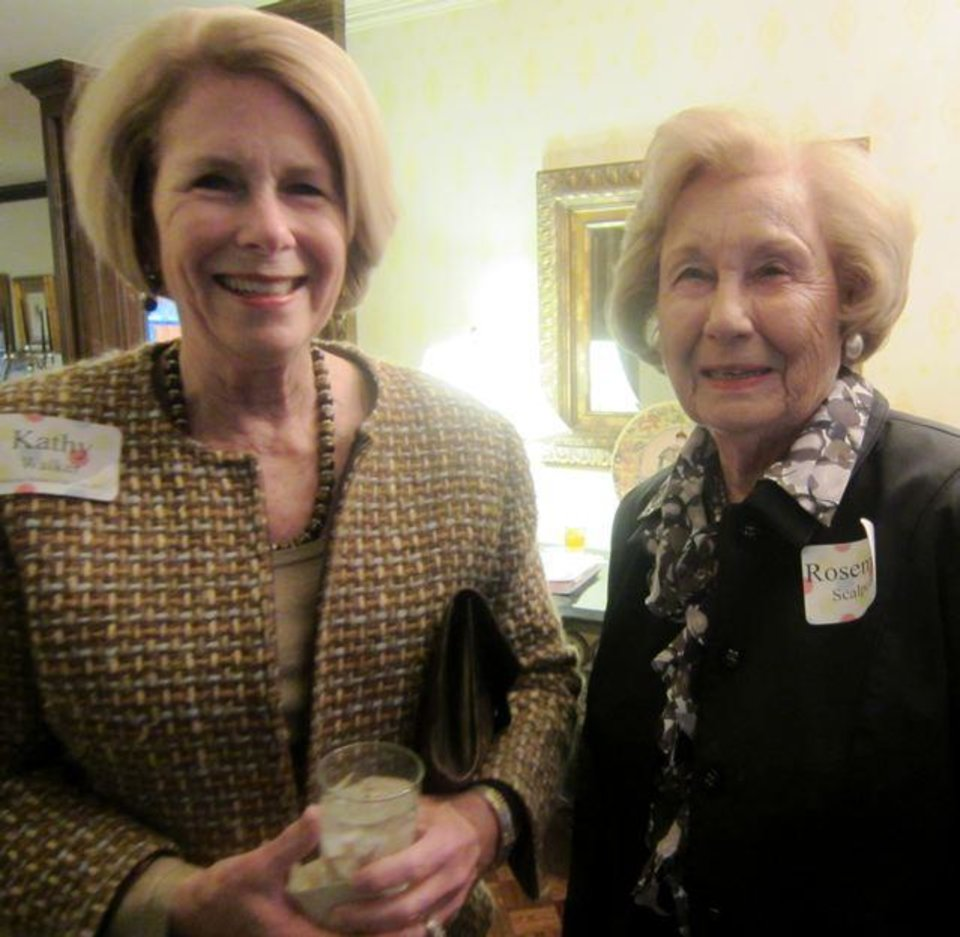 Oklahoma Mother of the Year Kathy Walker and her mother Rosemary Scalpone were at the party in the home of Connell and Cliff Branan. (Photo by Helen Ford Wallace).