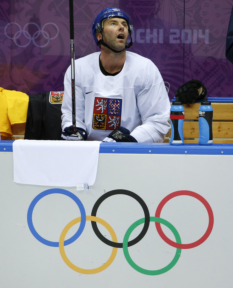 Photo - Czech Republic forward Petr Nedved takes a break during a training session at the Bolshoy Ice Dome at the the 2014 Winter Olympics, Tuesday, Feb. 11, 2014, in Sochi, Russia. (AP Photo/Julio Cortez)