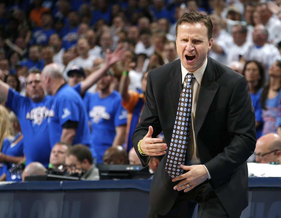 Photo - Oklahoma City coach Scott Brooks reacts during Game 2 in the second round of the NBA playoffs between the Oklahoma City Thunder and the Memphis Grizzlies at Chesapeake Energy Arena in Oklahoma City, Tuesday, May 7, 2013. Oklahoma  City lost 99-93. Photo by Bryan Terry, The Oklahoman