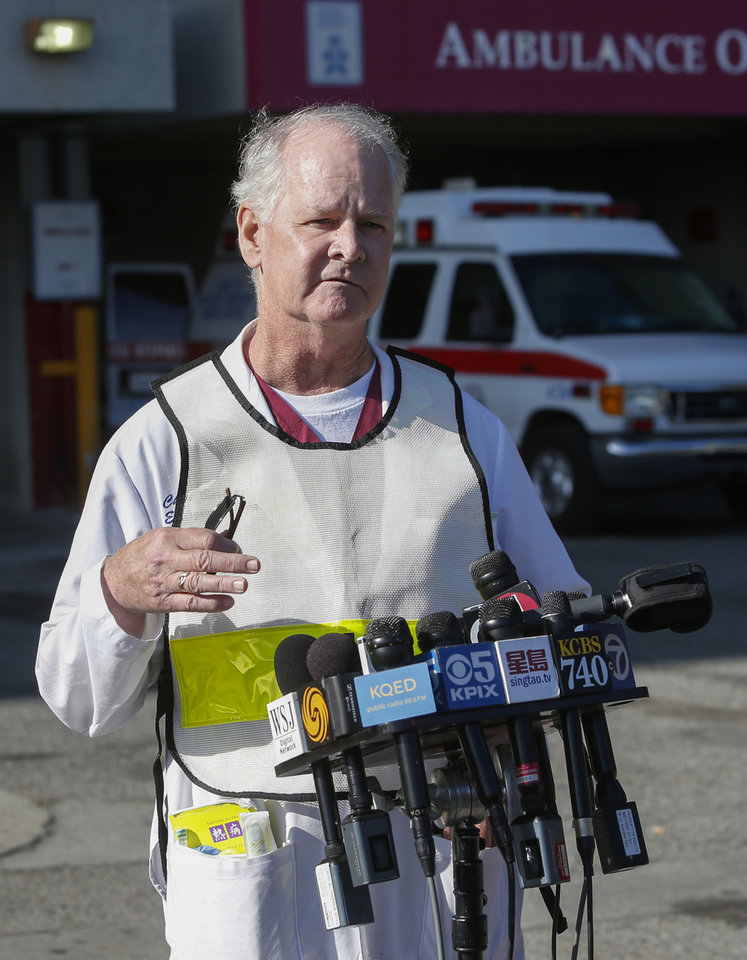 Photo - Dr. Chris Barton, Chief of Emergency Services at San Francisco General Hospital, speaks to reporters about passengers from Asiana Flight 214 that crashed at San Francisco International Airport in San Francisco, Saturday, July 6, 2013. (AP Photo/Bay Area News Group, John Green)