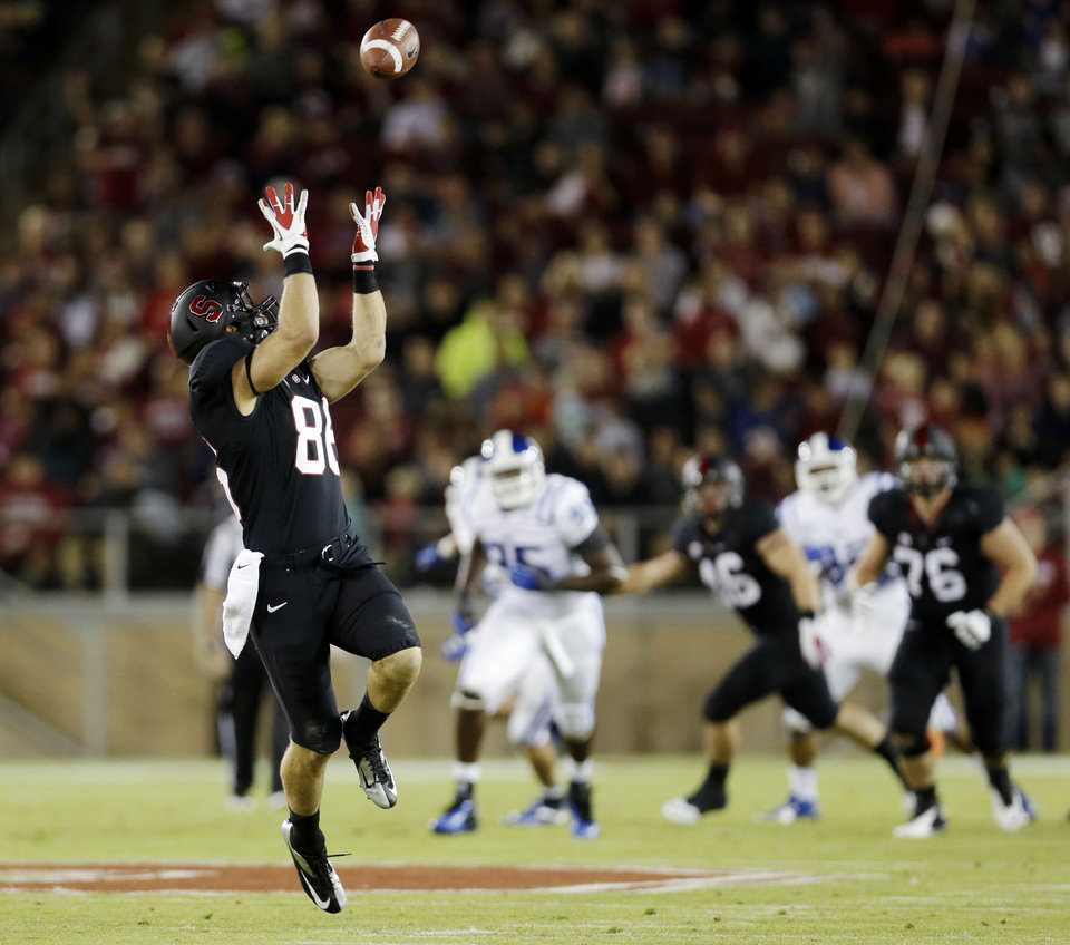 Photo -   Stanford tight end Zach Ertz makes a 43-yard reception against Duke during the first half of an NCAA college football game in Stanford, Calif., Saturday, Sept. 8, 2012. (AP Photo/Marcio Jose Sanchez)