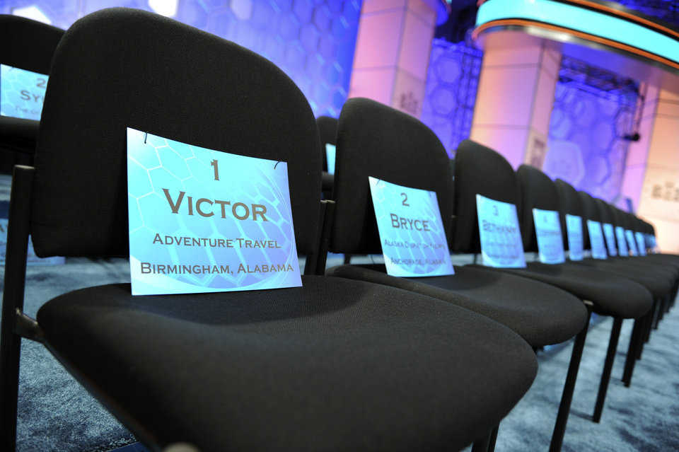 Photo - Placards with names of spellers sit on chairs at the as the 2015 the Scripps National Spelling Bee continues in Oxon Hill, Md., Wednesday, May 27, 2015. (AP Photo/Cliff Owen)