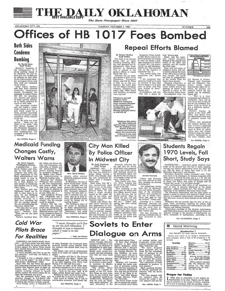 Photo -  The front page of the Oct. 1, 1991, edition of The Daily Oklahoman featured the news story about Midwest City police Capt. Jerry Kennedy's on-duty shooting.