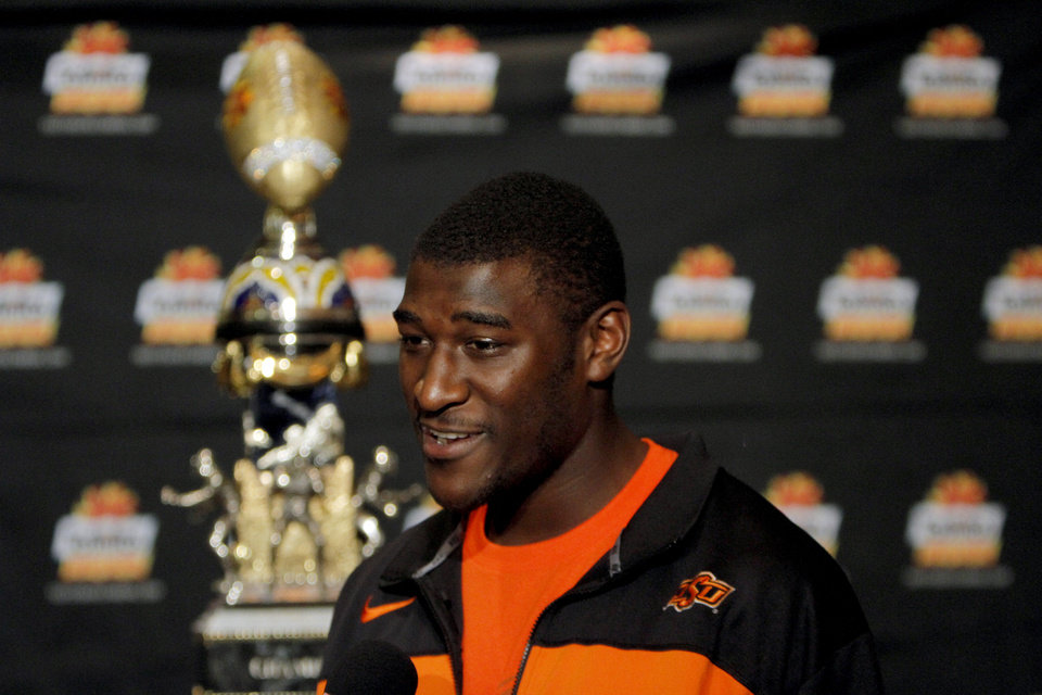 Photo - Oklahoma State's Justin Blackmon talks to the media during an Oklahoma State press conference for the Fiesta Bowl at the Camelback Inn in Paradise Valley, Ariz.,  Thursday, Dec. 29, 2011. Photo by Sarah Phipps, The Oklahoman