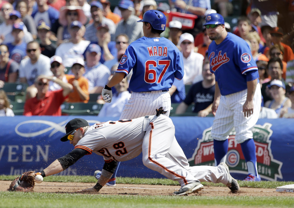 Photo - Chicago Cubs' Tsuyoshi Wada (67), of Japan, is safe at first after hitting a single as Baltimore Orioles first baseman Steve Pearce misses the catch during the third inning of an interleague baseball game in Chicago, Sunday, Aug. 24, 2014. (AP Photo/Nam Y. Huh)