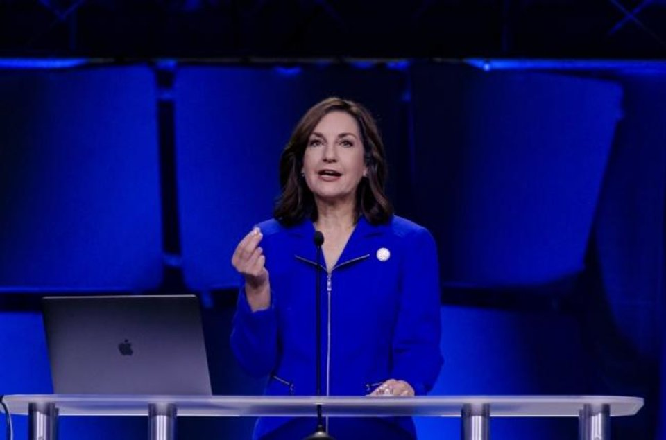 Photo -  Oklahoma State Superintendent of Public Instruction Joy Hofmeister speaks during the Oklahoma State Department of Education's third-annual trauma summit at the Cox Convention Center in Oklahoma City on Monday.  [Chris Landsberger/The Oklahoman]