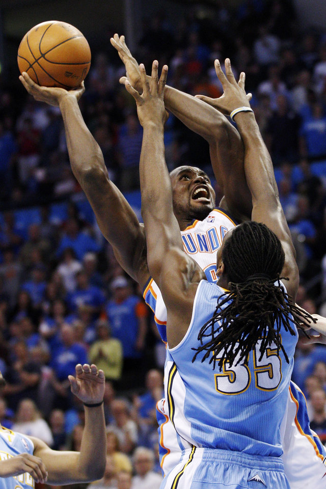 Photo -   Oklahoma City Thunder forward Serge Ibaka, left, is fouled by Denver Nuggets forward Kenneth Faried (35) on a shot during the first quarter of an NBA basketball game in Oklahoma City, Wednesday, April 25, 2012. (AP Photo/Sue Ogrocki)
