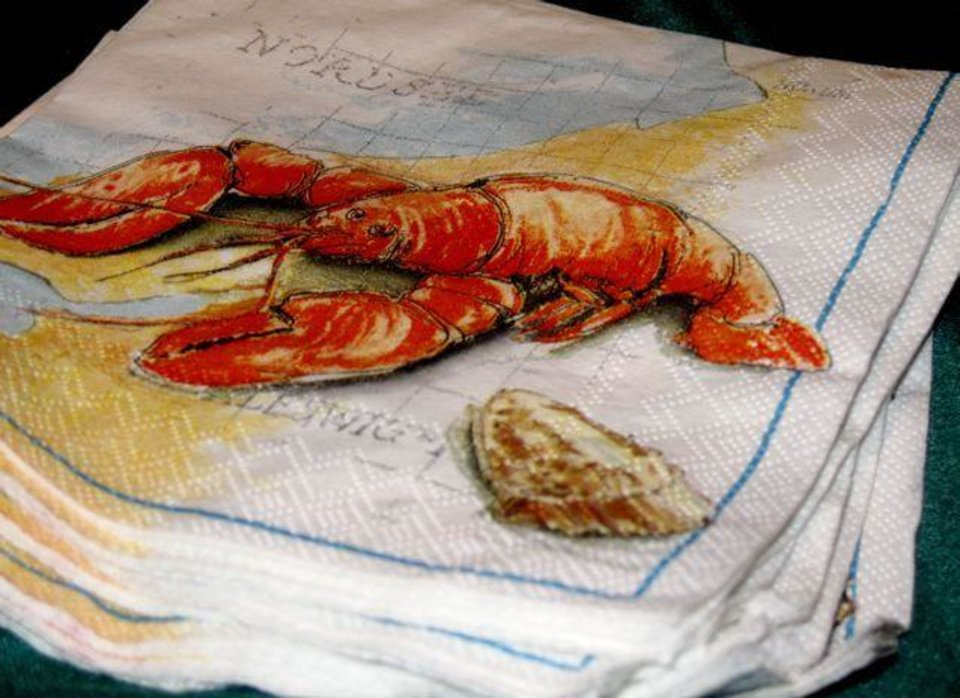 FESTIVE LOBSTER LUNCH...Napkins were pictures of lobsters. (Photo by  Helen Ford Wallace).