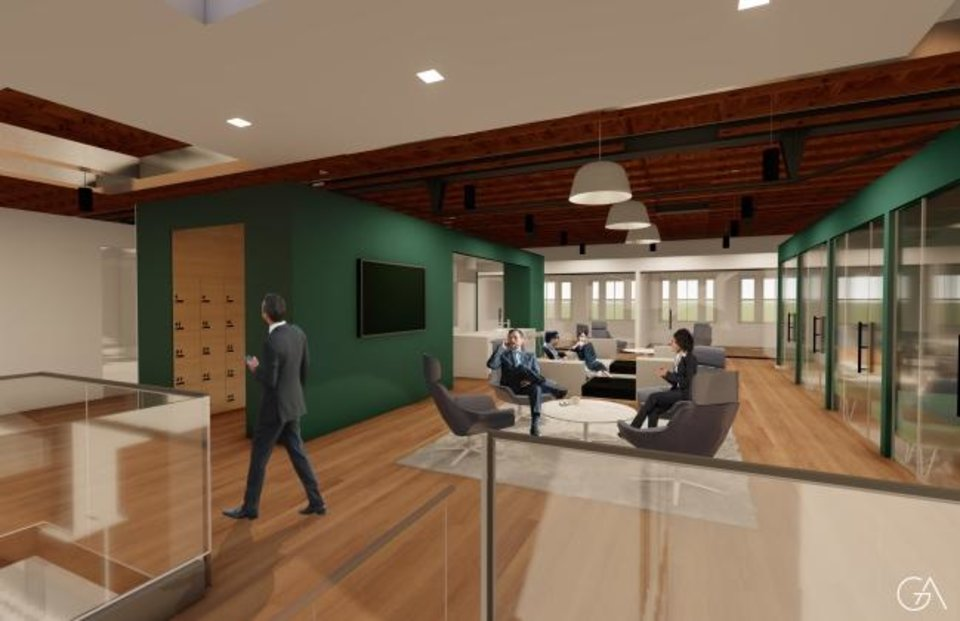 Photo -  Second floor amenties at Crew Workspace will include a kitchen, common area, and private meeting spaces. [RENDERING BY GARNDER ARCHITECTS]