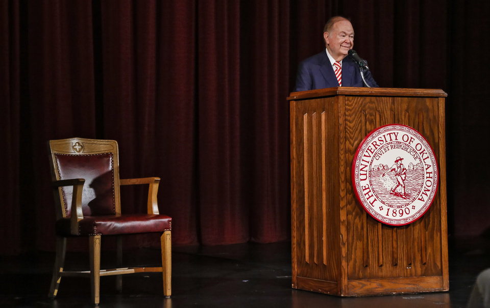 Photo - University of Oklahoma president speaks during a press conference to announce his retirement in Norman, Okla. on Wednesday, Sept. 20, 2017.  Photo by Chris Landsberger, The Oklahoman