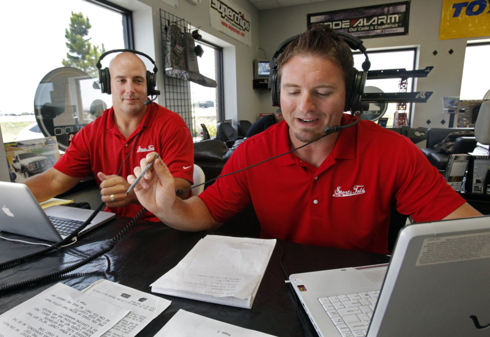 Photo - Teddy Lehman, left, and Dusty Dvoracek have taken their talents to an afternoon radio sports show. Photo by Steve Sisney, The Oklahoman