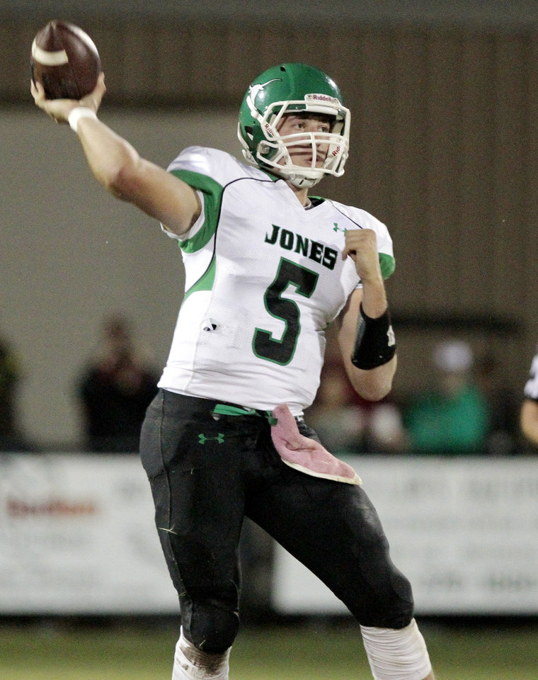 Jones\' David Cornwell throws in high school football as Tuttle plays Jones on Friday, Oct. 19, 2012 in Tuttle, Okla. Photo by Steve Sisney, The Oklahoman