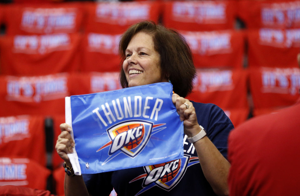 Oklahoma City fan Louise Thurman of Oklahoma City cheers before Game 6 of the Western Conference semifinals in the NBA playoffs between the Oklahoma City Thunder and the Los Angeles Clippers at the Staples Center in Los Angeles, Thursday, May 15, 2014. Photo by Nate Billings, The Oklahoman