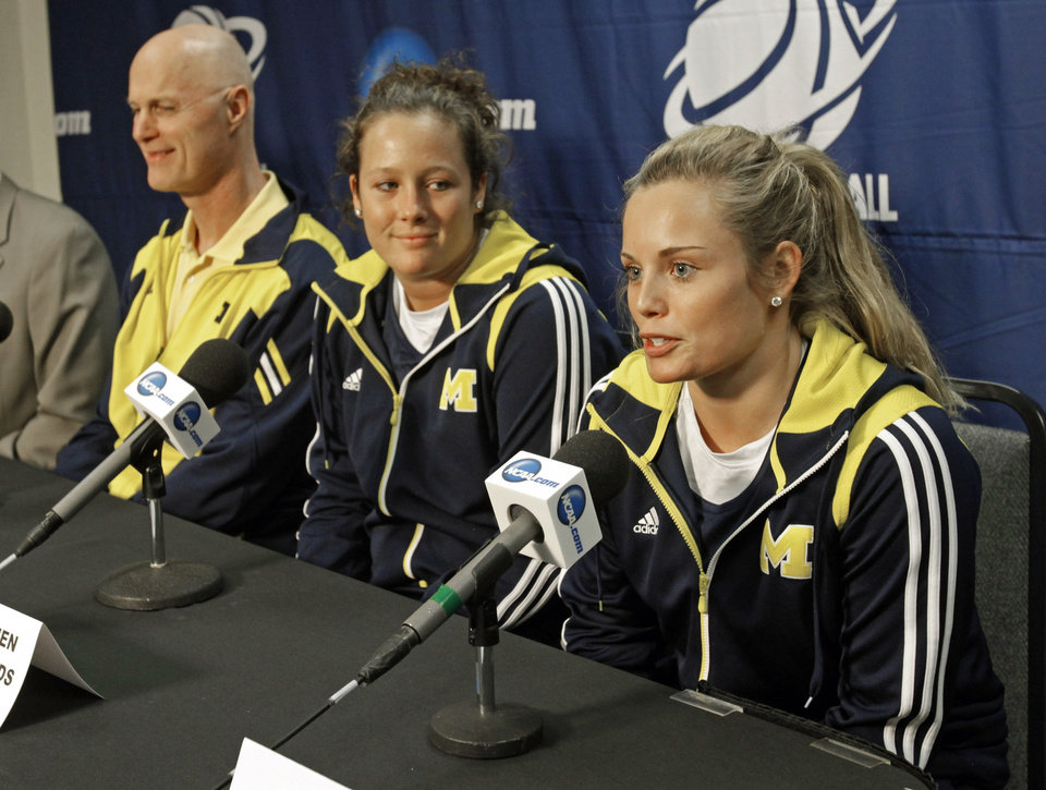 Michigan Wolverines head coach Kevin Borseth, and players Carmen Reynolds and Courtney Boylan speak with the media before practice for the first round of the NCAA Women\'s Basketball Championship Tournament at the Lloyd Noble Center on Saturday, March 17, 2012, in Norman, Okla. Photo by Steve Sisney, The Oklahoman