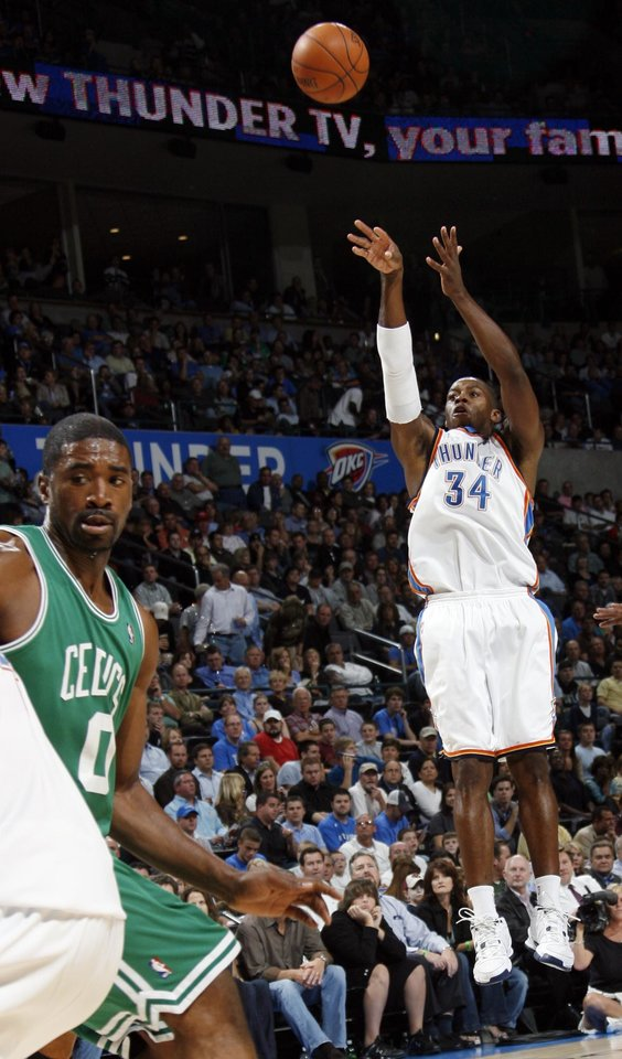Oklahoma City\'s Desmond Mason takes a shot in the first half during the NBA basketball game between the Oklahoma City Thunder and the Boston Celtics at the Ford Center in Oklahoma City, Wednesday, Nov. 5, 2008. BY NATE BILLINGS, THE OKLAHOMAN