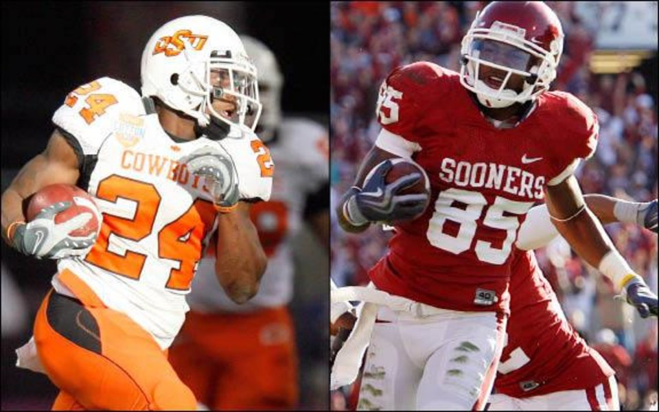Photo - OSU's Kendall Hunter, left, and OU's Ryan Broyles. OKLAHOMAN ARCHIVE PHOTOS