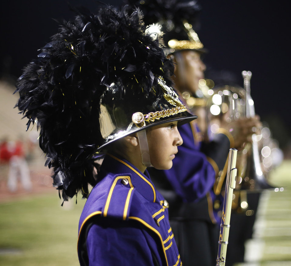 NWC band lines up for their halftime show at the Northwest Classen vs. Western Heights high school football game at Taft Stadium Thursday, September 20, 2012. Photo by Doug Hoke, The Oklahoman