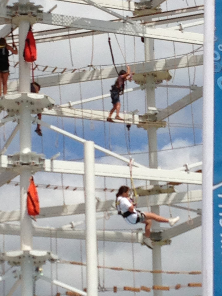 Photo -  Members of the St. Luke's United Methodist Church youth group working through the Sky Trail challenges. Photo provided by Charlie Ludden.