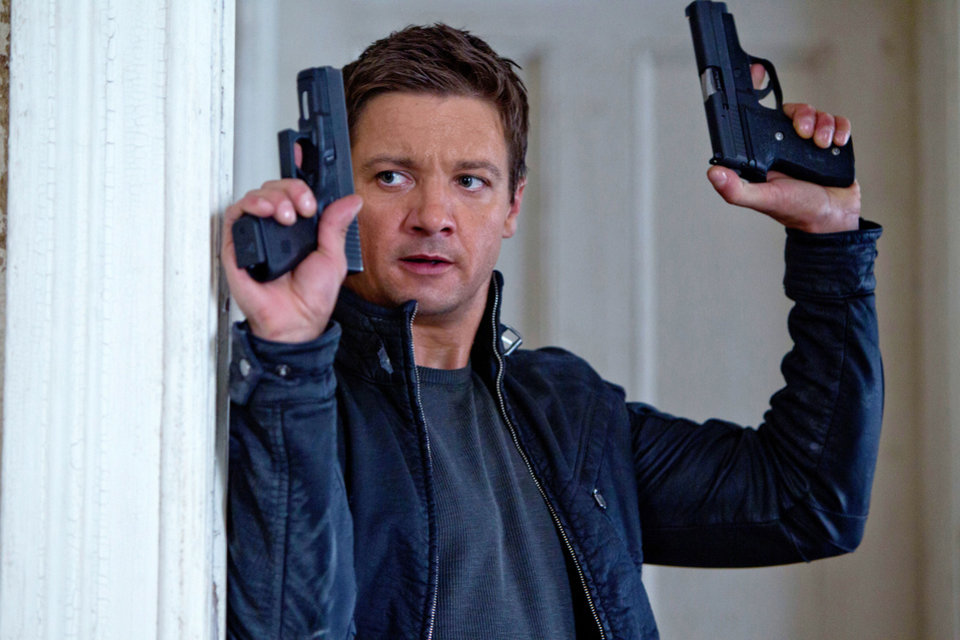 Jeremy Renner, above and left, portrays Aaron Cross in these scenes from �The Bourne Legacy.� Rachel Weisz, left, plays Dr. Marta Shearing. UNIVERSAL PICTURES PHOTOS