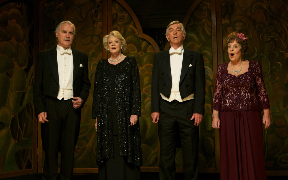 From left, Billy Connolly, Maggie Smith, Tom Courtenay and Pauline Collins in a scene from �Quartet,� directed by Dustin Hoffman. WEINSTEIN COMPANY PHOTO
