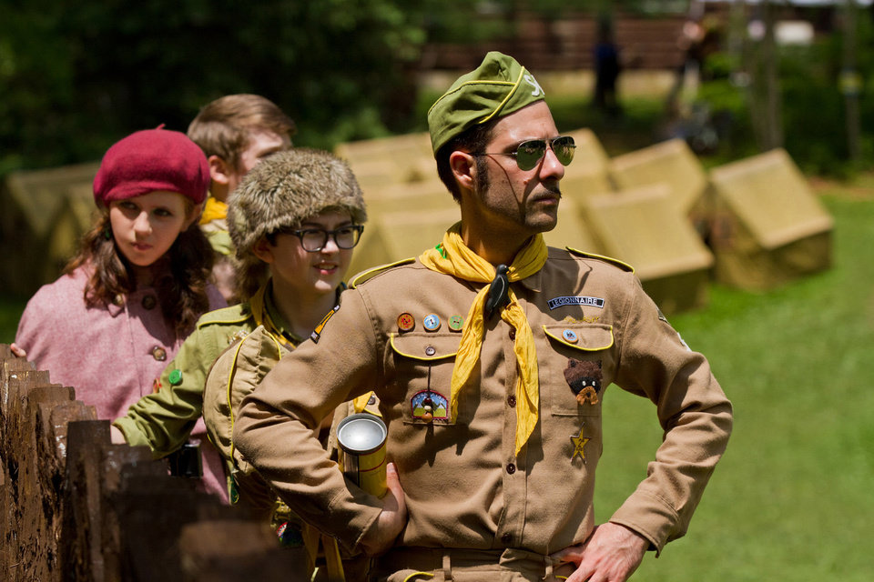 "In this film image released by Focus Features, from left, Kara Hayward, Jared Gilman and Jason Schwartzman are shown in a scene from ""Moonrise Kingdom."" Wes Anderson and Roman Coppola was nominated for an Academy Award on Thursday, Jan. 10, 2013, for best original screenplay for the film.  The 85th Academy Awards will air live on Sunday, Feb. 24, 2013 on ABC.  (AP Photo/Focus Features, Niko Tavernise) <strong>Niko Tavernise - AP</strong>"