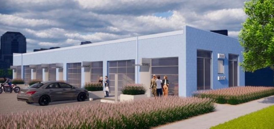 Photo -  A non-descript garage that was once a part of the Mercedes of Oklahoma City dealership downtown is set to be redeveloped into small office space for business start-ups. [Rendering by Fitzsimmons Architects]