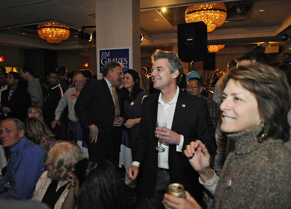 Sixth Congressional District candidate Jim Graves watches the returns on a television screen during an election event at the Le St-Germain Hotel, Tuesday, Nov. 6, 2012, in St. Cloud, Minn. (AP Photo/The St. Cloud Times, Dave Schwarz) NO SALES