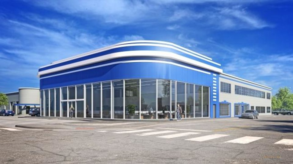 Photo -  The two-story showroom windows at NW 13 and Harvey will be restored as part of redevelopment of the former Walter E. Allen Chrysler Plymouth dealership. [RENDERING BY SKLINE INK]