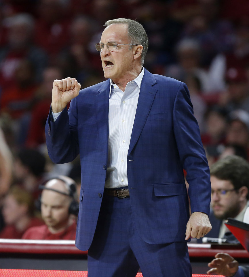 Photo - Oklahoma coach Lon Kruger shouts during a men's NCAA basketball game between the University of Oklahoma Sooners (OU) and the Baylor Bears at the Lloyd Noble Center in Norman, Okla., Tuesday, Feb. 18, 2020. Baylor won 65-54. [Bryan Terry/The Oklahoman]