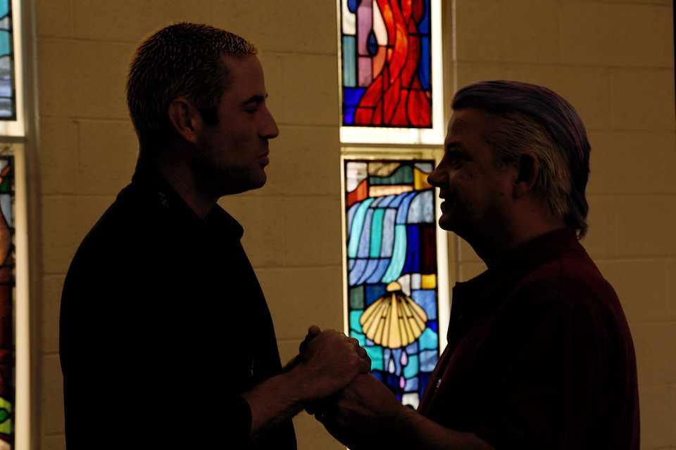 Standing in the sanctuary of Church of the Open Arms, Kenny Wright and Bo Bass are an Oklahoma City gay couple who say they will get married in Oklahoma if the state�s same-sex marriage ban is overturned. Photo by Jim Beckel, The Oklahoman  <strong>Jim Beckel -   </strong>
