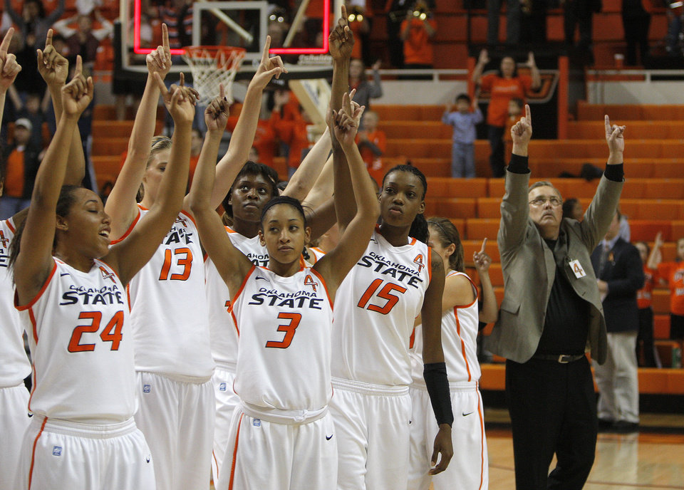 Photo - Oklahoma State cheers following the women's college game between Oklahoma State University and Coppin State at Gallagher-Iba Arena in Stillwater, Okla.,  Saturday, Nov. 26, 2011.  Photo by Sarah Phipps, The Oklahoman