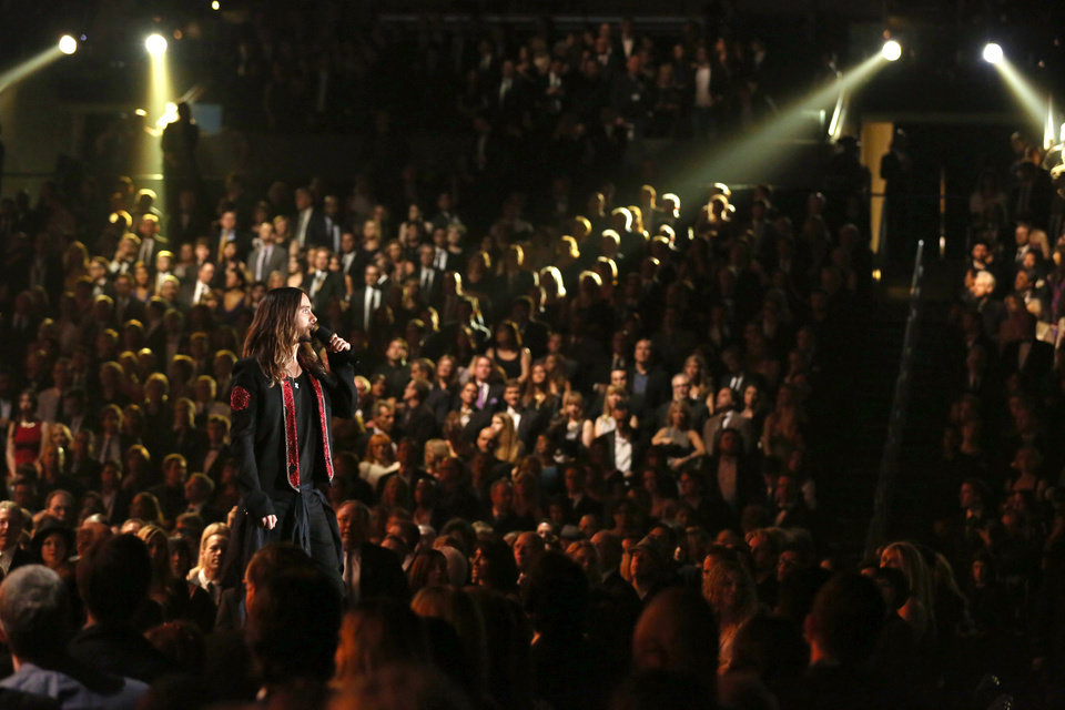 Photo - Jared Leto speaks on stage at the 56th annual Grammy Awards at Staples Center on Sunday, Jan. 26, 2014, in Los Angeles. (Photo by Matt Sayles/Invision/AP)