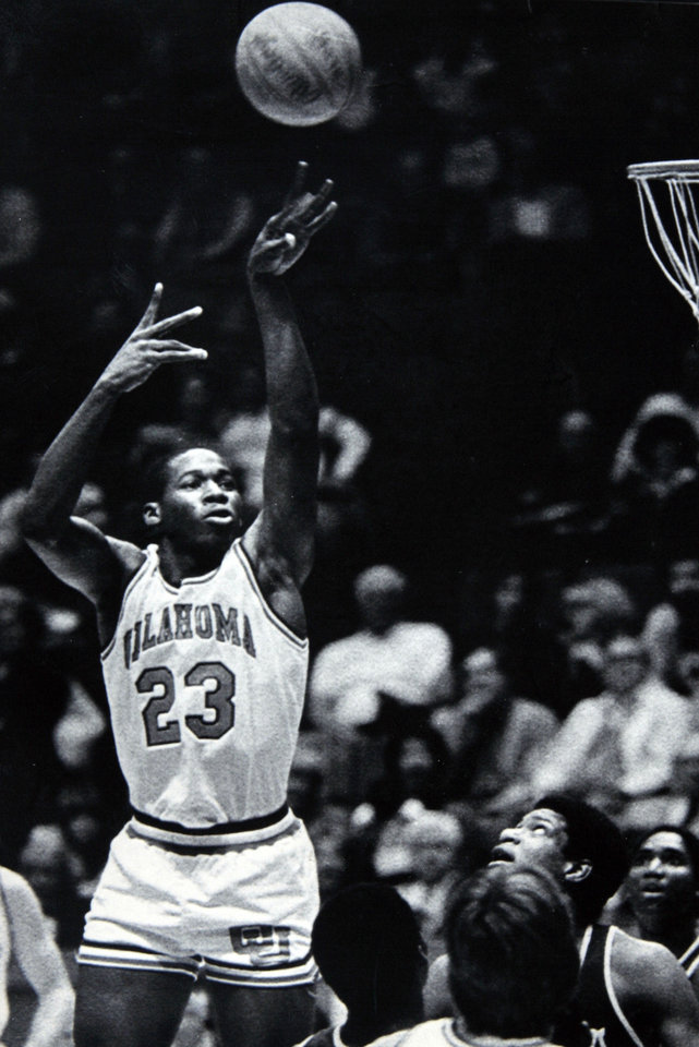 Former OU basketball player Wayman Tisdale. SOONER SENSATION -University of Oklahoma basketball player Wayman Tisdale lead the Sooners to a 24-9 season in 1982-83. Tisdale\'s career high in points, 51, was scored against Abilene Christian. (AP LaserPhoto) stf-David Longstreath. Photo taken, published 5/5/1984 in The Daily Oklahoman. ORG XMIT: KOD